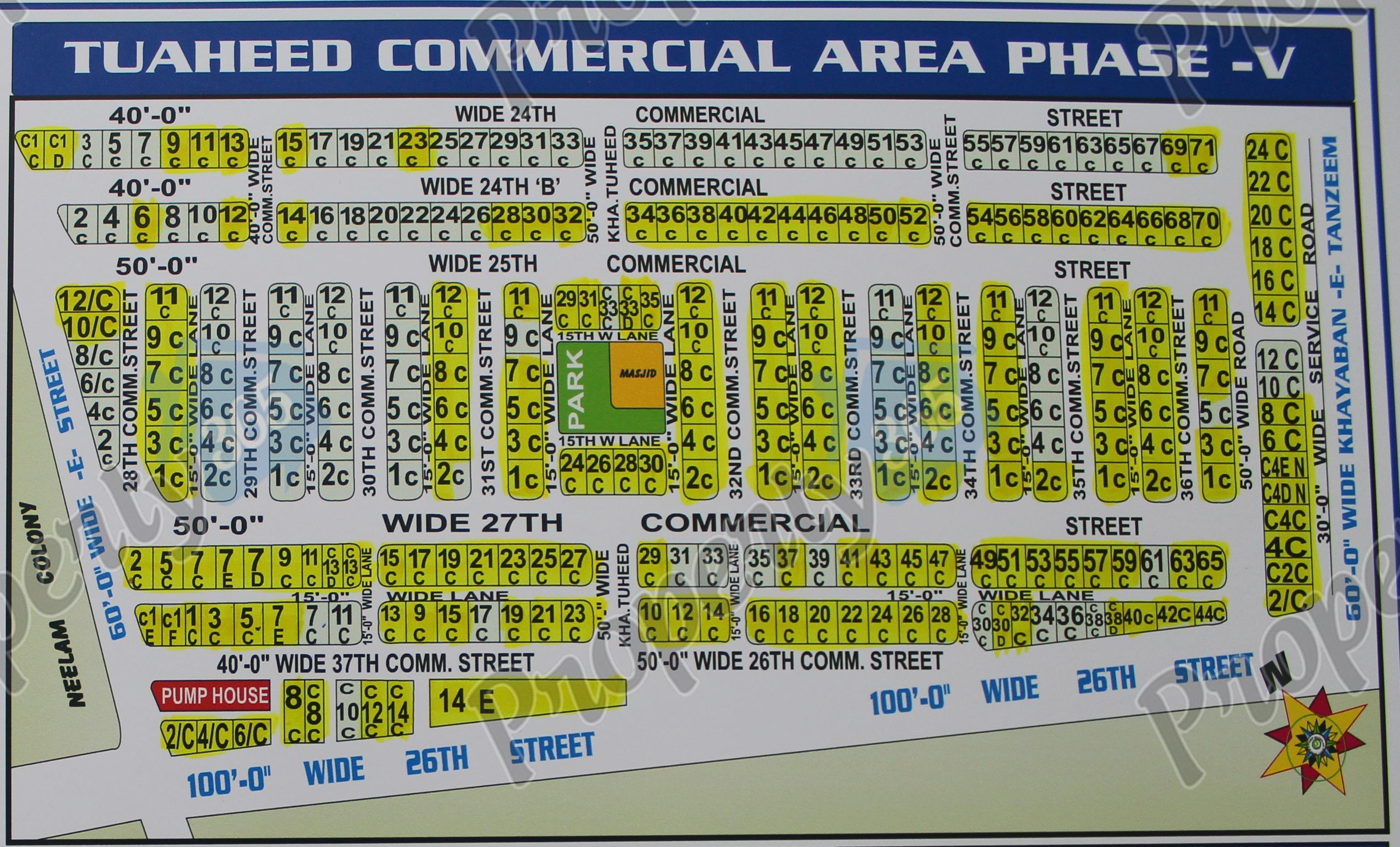 tauheed commercila area Phase 5, V map